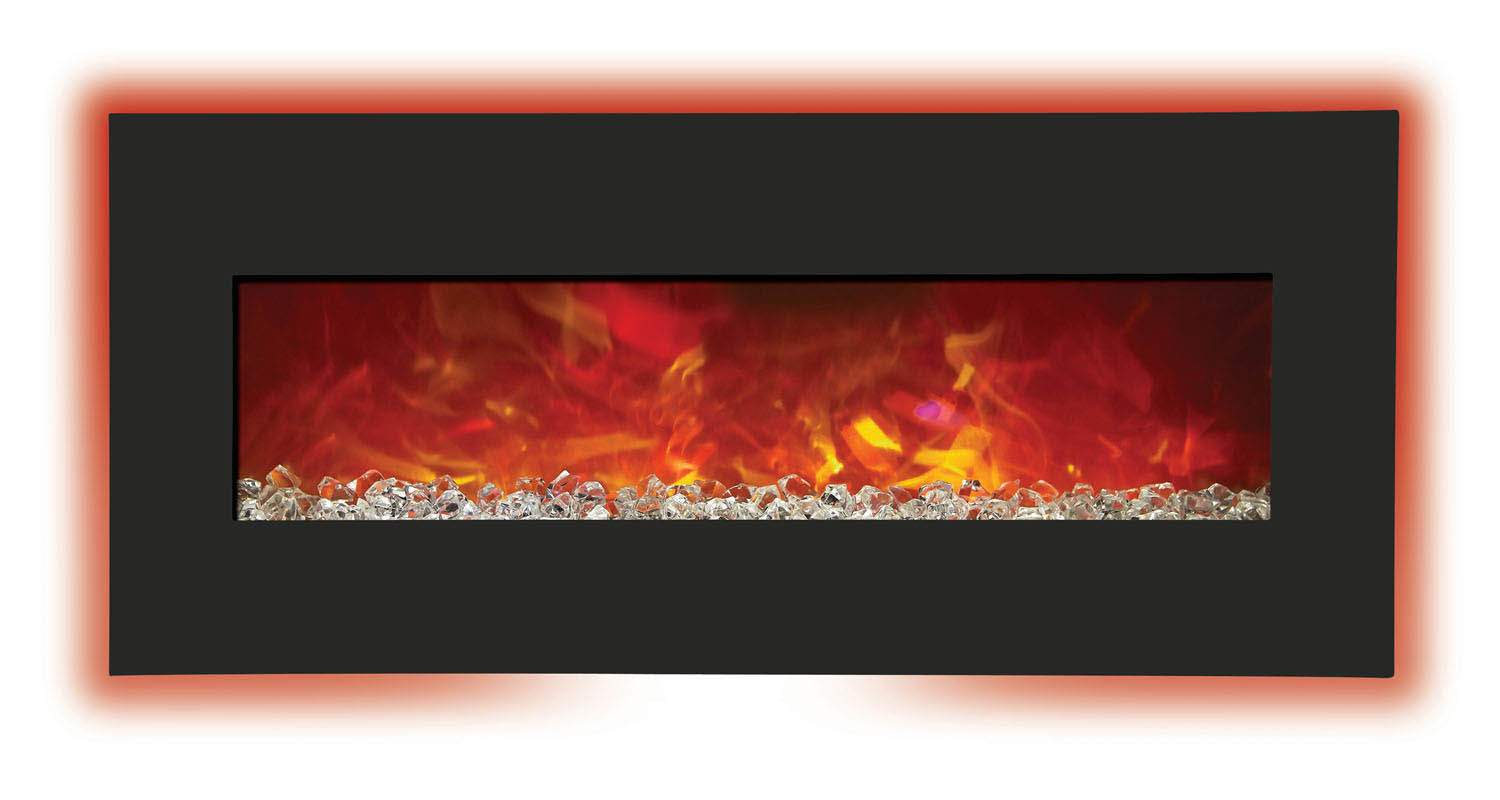 Amantii Advanced Series Wall Mount Built In Electric Fireplace With Black Glass