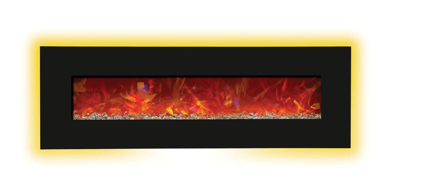 Amantii Advanced Series Wall Mount Built In Electric Fireplace With Black Glass Ebay