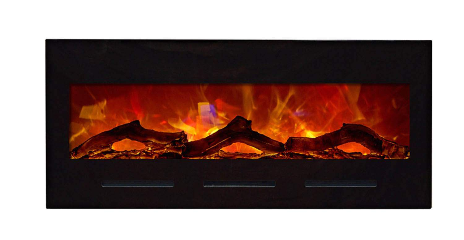 Amantii Bi Fl 50 Flushmt Blkgls 50 Inch Electric Fireplace Flush Mount Fire Ice Series
