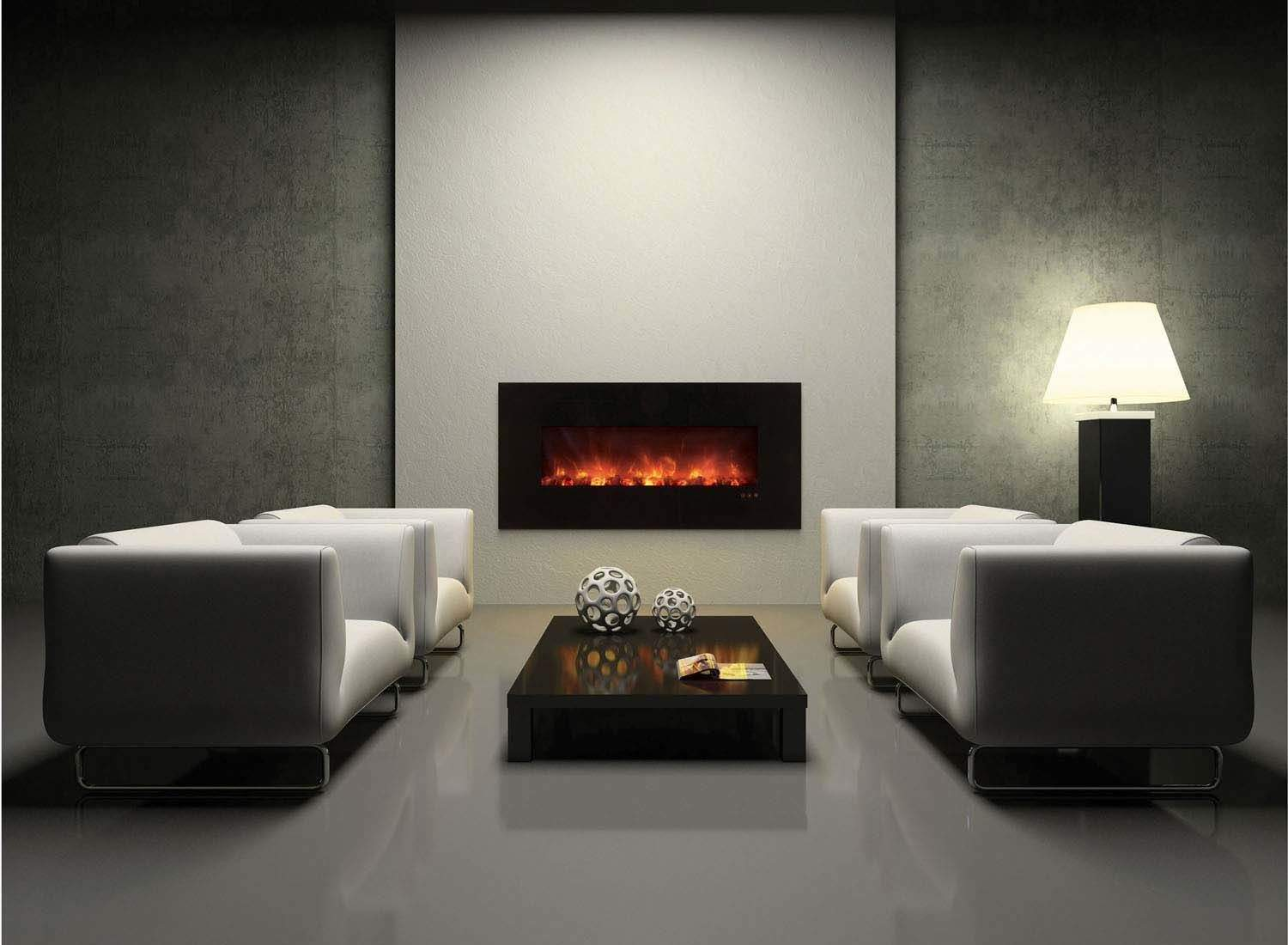 Modern Flames Clx Series Wall Mount Built In Electric Fireplace With Black Glass Ebay