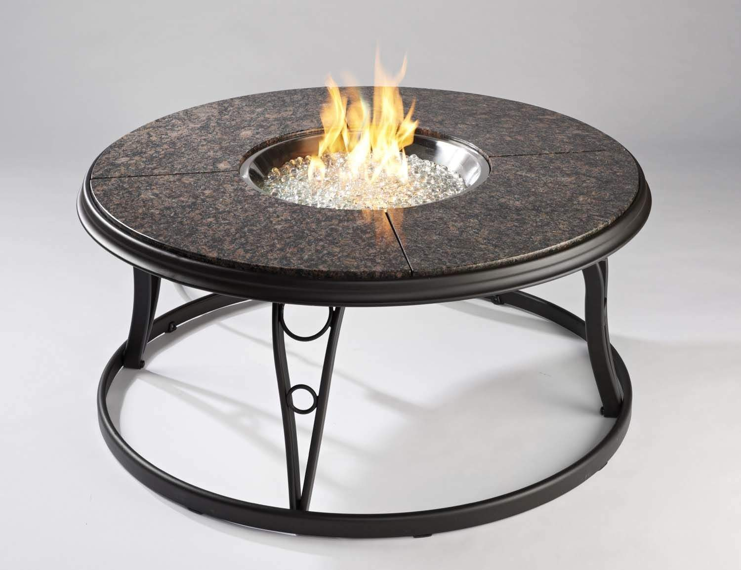 Outdoor Greatroom Granite 42 Inch Round Gas Fire Pit Table