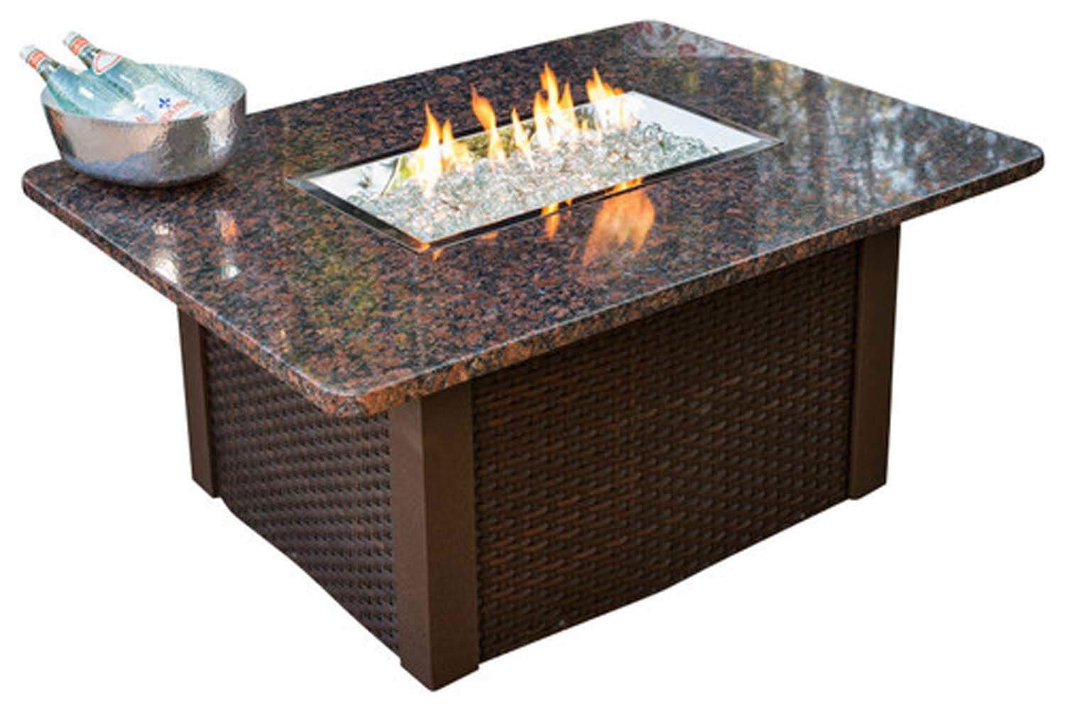Outdoor Greatroom Grandstone Gas Fire Pit Coffee Table With Brown Wicker Base N Ebay