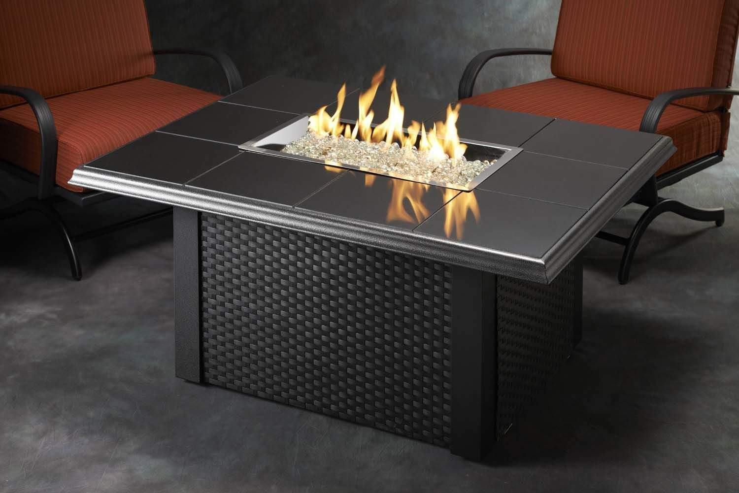 Outdoor Greatroom Napa Valley Gas Fire Pit Coffee Table With Black Wicker Base Ebay