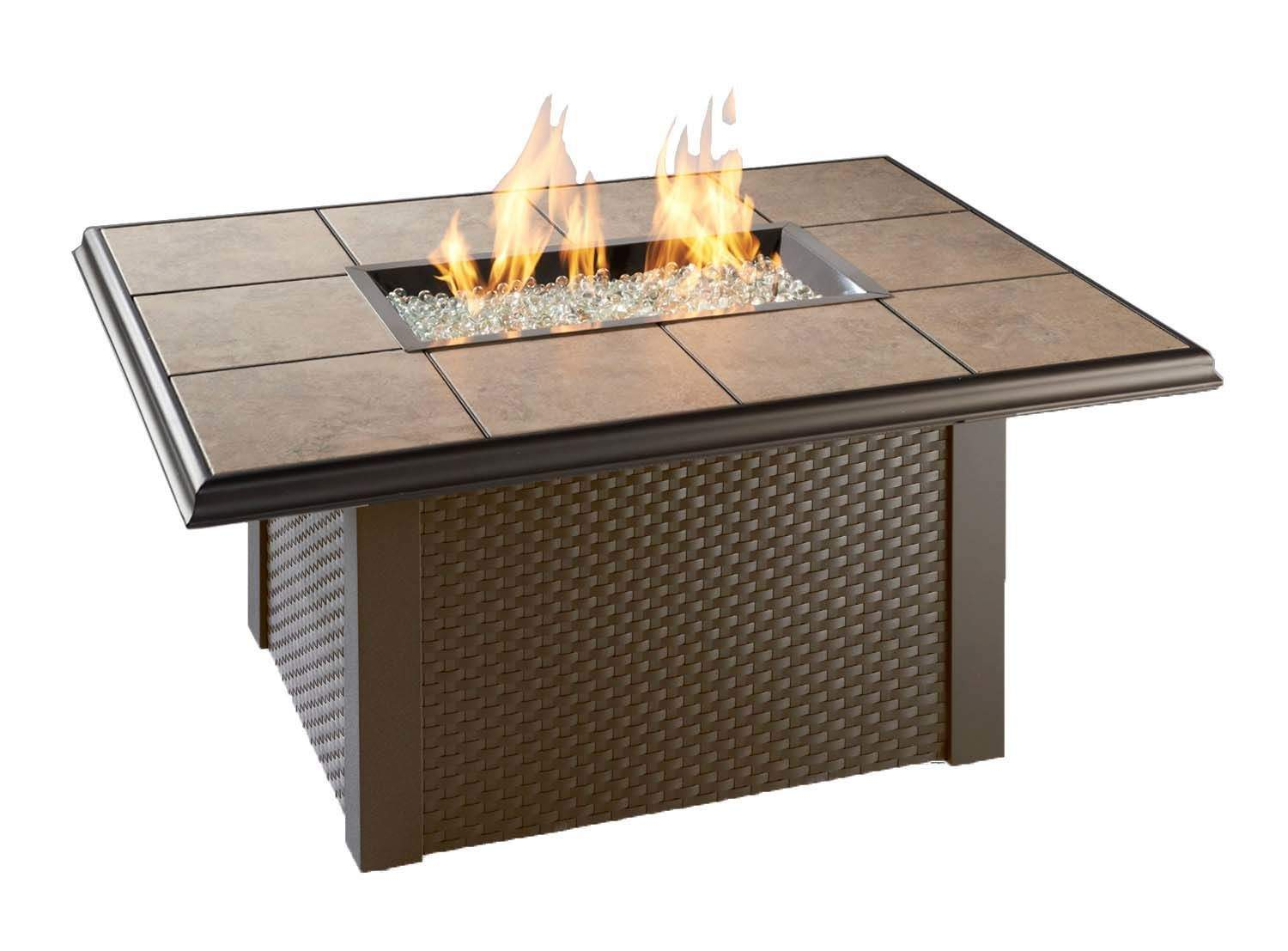 Outdoor Greatroom Napa Valley Gas Fire Pit Coffee Table With Brown Wicker Base Ebay