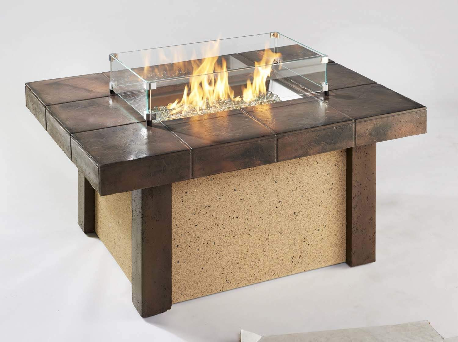 Outdoor Greatroom Rivers Edge Chat Height Gas Fire Pit Coffee Table New