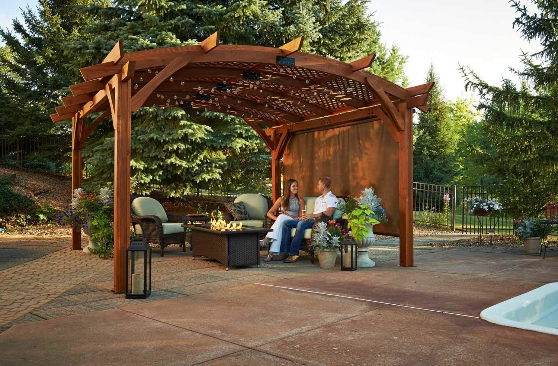 Outdoor greatroom sonoma pergola 12x12 feet redwood new for Redwood patio cover