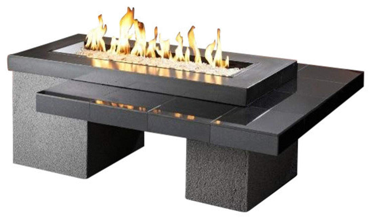Outdoor Greatroom Uptown Chat Height Black Gas Fire Pit